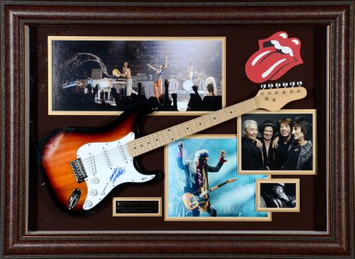 """Keith Richards Framed Autographed 48"""" x 36"""" Guitar Shadowbox The Rolling Stones - Beckett COA"""