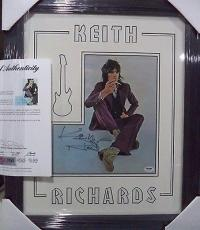 Keith Richards Rolling Stones Psa/dna Loa Signed Photo Double Matted & Framed