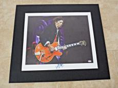 Keith Richards Rolling Stones Signed 11x14 Matted Canvas Photo PSA Certified