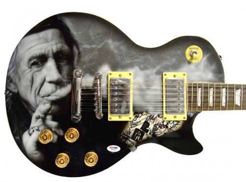 Keith Richards Rolling Stones Signed Airbrushed 12Str Guitar Psa AFTAL