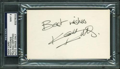 Keith Richards Signed 3X5 Index Card Auto Graded Mint 9! PSA Slabbed