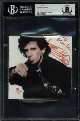 Keith Richards The Rolling Stones Signed Cd Cover BAS Slabbed