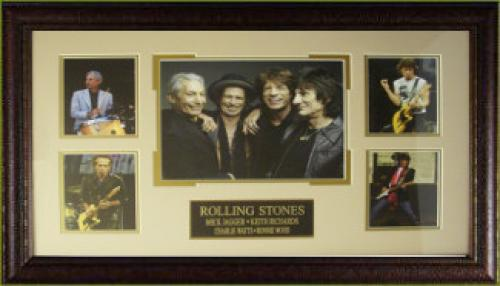 Keith Richards unsigned Rolling Stones 5 Photo 29x20 Custom Leather Framed (music/entertainment memorabilia)