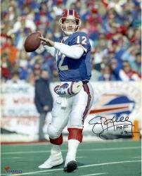 "Jim Kelly Buffalo Bills Autographed 16"" x 20"" Drop Back Photograph with HOF 2002 Inscription"