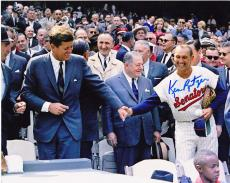 KEN RETZER  WASHINGTON SENATORS  W/ JOHN F KENNEDY  ACTION SIGNED 8x10