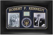 Senator Robert F. Kennedy Framed Photographs with Autograph Cut and Laser Engraved United States Senate Seal.