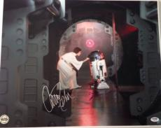 KENNY BAKER R2 D2 & CARRIE FISHER Leia Signed STAR WARS 16x20 PHOTO PSA DNA Coa
