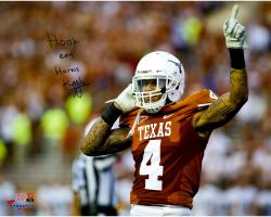 Kenny Vaccaro Texas Longhorns Autographed 8''x 10'' Home Jersey Sky Point Photograph with Hook Em Horns Inscription