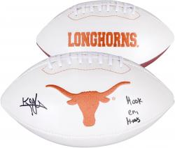 Kenny Vaccaro Texas Longhorns Autographed White Panel Football with Hook Em Horns Inscription