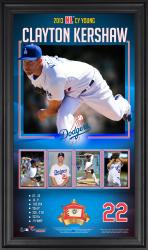 "Clayton Kershaw Los Angeles Dodgers 2013 National League Cy Young Award 10"" x 18"" Framed Collage with Game-Used Baseball - Limited Edition of 500"
