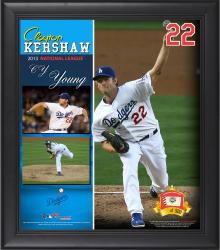 "Clayton Kershaw Los Angeles Dodgers 2013 National League Cy Young Award Framed 15"" x 17"" Collage with Game-Used Baseball - Limited Edition of 500"