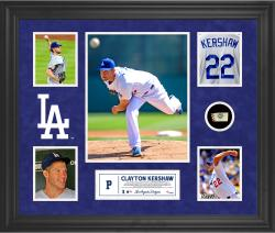 Clayton Kershaw Los Angeles Dodgers Framed 5-Photo Collage with Piece of Game-Used Ball