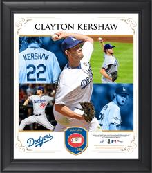 "Clayton Kershaw Los Angeles Dodgers Framed 15"" x 17"" Collage with Piece of Game-Used Ball"