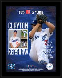 """Clayton Kershaw Los Angeles Dodgers 2013 National League Cy Young Award Sublimated 10.5"""" x 13"""" Plaque"""