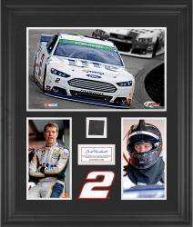 Brad Keselowski Framed 3-Photograph Collage with Race-Used Tire-Limited Edition of 500 - Mounted Memories