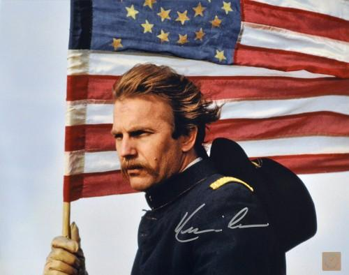 Kevin Costner Autographed Dances With Wolves American Flag 11x14 Photo