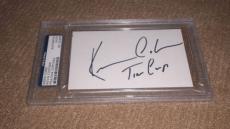 Kevin Costner Tin Cup Signed 3 X 5 Index Card Autographed Ip! Slabbed Psa/dna