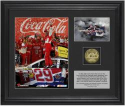 Kevin Harvick 2013 Coca-Cola 600 Race Winner Framed 2-Photograph Collage with Gold-Plated Coin - Limited Edition of 329 - Mounted Memories