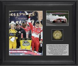 Kevin Harvick 2013 Hollywood Casino 400 Race Winner Framed 2-Photograph Collage with Gold-Plated Coin - Limited Edition of 329 - Mounted Memories