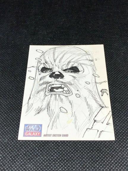 Kevin Sharpe Chewbacca Star Wars Galaxy Autograph SKETCH CARD 1/1 2011 Topps