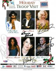 Kid Rock/Kellie Pickler +4 Signed USO Holiday Troop Auto 8x10 Photo PSA #I72633