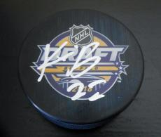 Kieffer Bellows Signed 2016 NHL Draft Puck w/COA Boston University