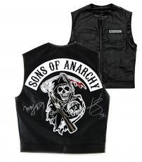 """Kim Coates & Mark Boone, Jr. Signed Officially Licensed Sons of Anarchy Black Biker Vest with """"Tig"""" and """"Bobby"""" Inscriptions"""