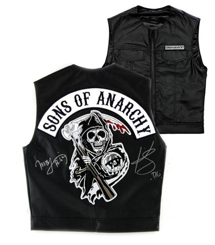 "Kim Coates & Mark Boone, Jr. Signed Officially Licensed Sons of Anarchy Black Biker Vest with ""Tig"" and ""Bobby"" Inscriptions"