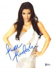 "Kim Kardashian Autographed 8"" x 10"" Posing in Silver Dress with Hands on Hips Photograph - Beckett COA"