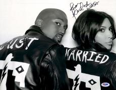 "Kim Kardashian & Kanye West Autographed 11"" x 14"" Black & White Photograph - PSA/DNA"
