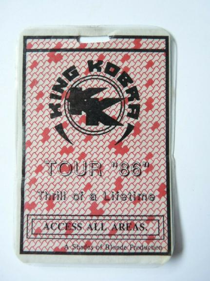 King Kobra 1986 Thrill Lifetime Tour Concert Issued Used Backstage Pass Laminate
