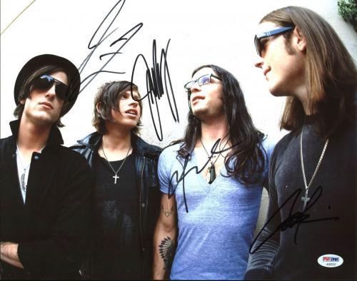 Kings Of Leon (Caleb, Nathan, Jared, Matthew) Signed 11X14 Photo PSA #AB03337