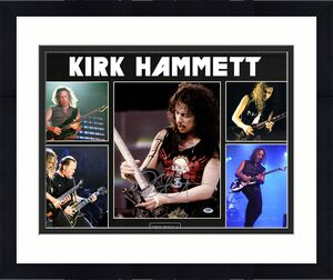 Kirk Hammett Signed 11x14 Metallica Photo Custom Display AFTAL UACC RD COA PSA