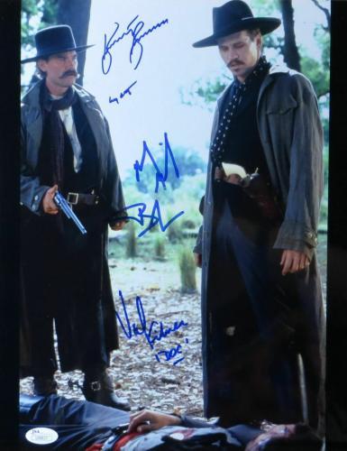 Kurt Russell Val Kilmer Michael Biehn Autographed 11X14 Photo Tombstone JSA