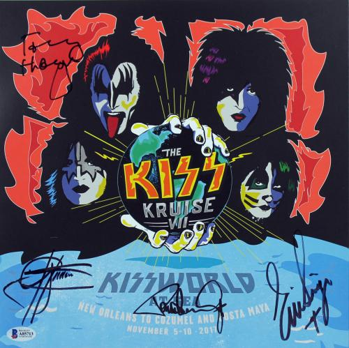 KISS (4) Simmons, Stanley, Singer & Thayer Signed World At Sea Litho BAS #A85713