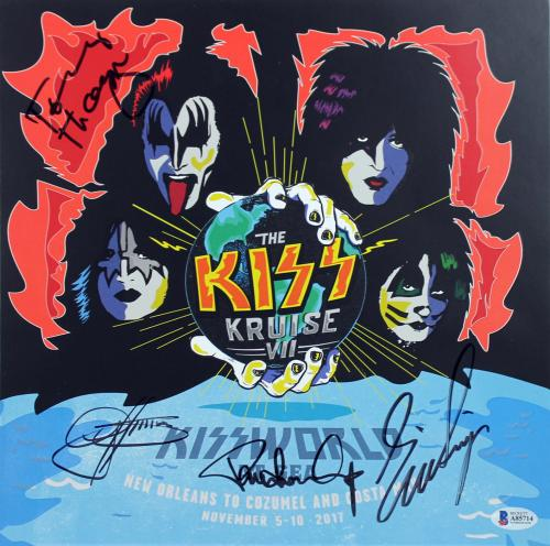 KISS (4) Simmons, Stanley, Singer & Thayer Signed World At Sea Litho BAS #A85714