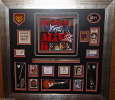 KISS ALIVE II 2 signed autographed record LP FRAMED guitar pick pass PSA DNA COA