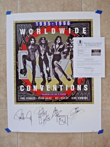 Kiss All 4 Original Band Signed Autograph 26x33 Lithograph Poster PSA Certified
