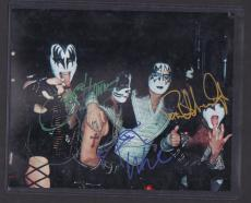 KISS AUTO 8x10 PHOTO SIGNED GENE SIMMONS PAUL STANLEY PETER CRISS JSA COA LOA