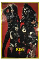 Kiss Autographed Signed Vintage Poster Gene Simmons Ace Frehley Peter Criss Paul