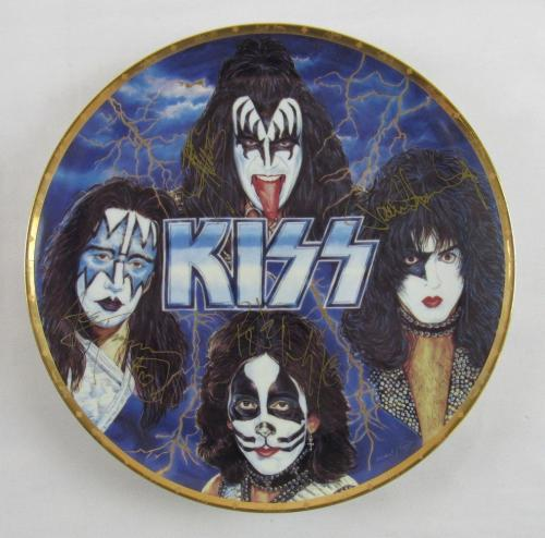 "Kiss Gene Simmons Ace Frehley Peter Criss Paul Stanley Signed Gartlan 10"" Plate"