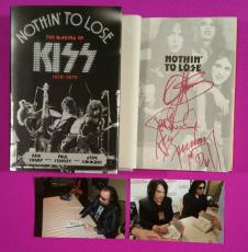 Kiss Gene Simmons Paul Stanley Ace Frehley Signed Book Nothin To Lose With Photo