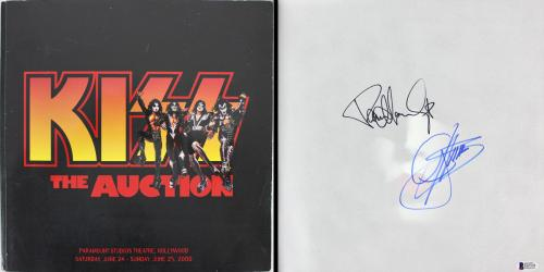 KISS Gene Simmons & Paul Stanley Signed 12.5x12.5 Auction Program BAS #B67578