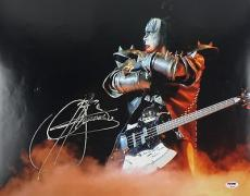 KISS Gene Simmons Signed Autographed 16x20 On Stage Photo PSA/DNA Authentic