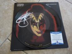 Kiss Gene Simmons Solo Signed Autographed Picture Disk LP Beckett Certified