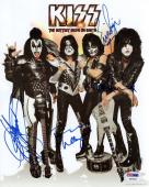 KISS HAND SIGNED 8x10 COLOR PHOTO   SIGNED BY WHOLE BAND  PAUL+GENE   PSA LETTER