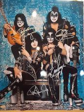 KISS HAND SIGNED OVERSIZED 16x20 PHOTO    STEINER      PAUL STANLEY+GENE SIMMONS