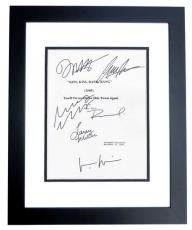 Kiss Kiss Bang Bang Autographed Script Cover by Robert Downey Jr, Val Kilmer, Corbin Bernsen, Michelle Monaghan, Dash Mihok, and Larry Mille BLACK CUSTOM FRAME