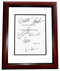 Kiss Kiss Bang Bang Autographed Script Cover by Robert Downey Jr, Val Kilmer, Corbin Bernsen, Michelle Monaghan, Dash Mihok, and Larry Mille MAHOGANY CUSTOM FRAME
