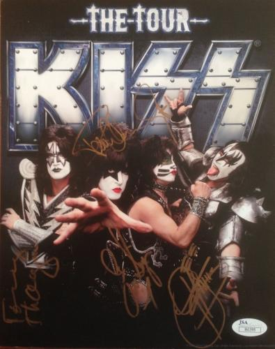 "KISS ""The Tour"" 8x10 signed by Simmons/Stanley/Thayer/Singer-JSA I61595"